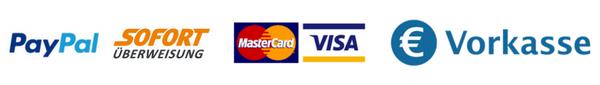 PayPal,SofortÜberweisung,Creditkarte,Vorkasse