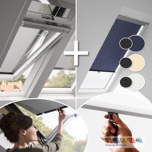 VELUX Set Hitzeschutz Plus: Hitzeschutz Markise + Sichtschutzrollo